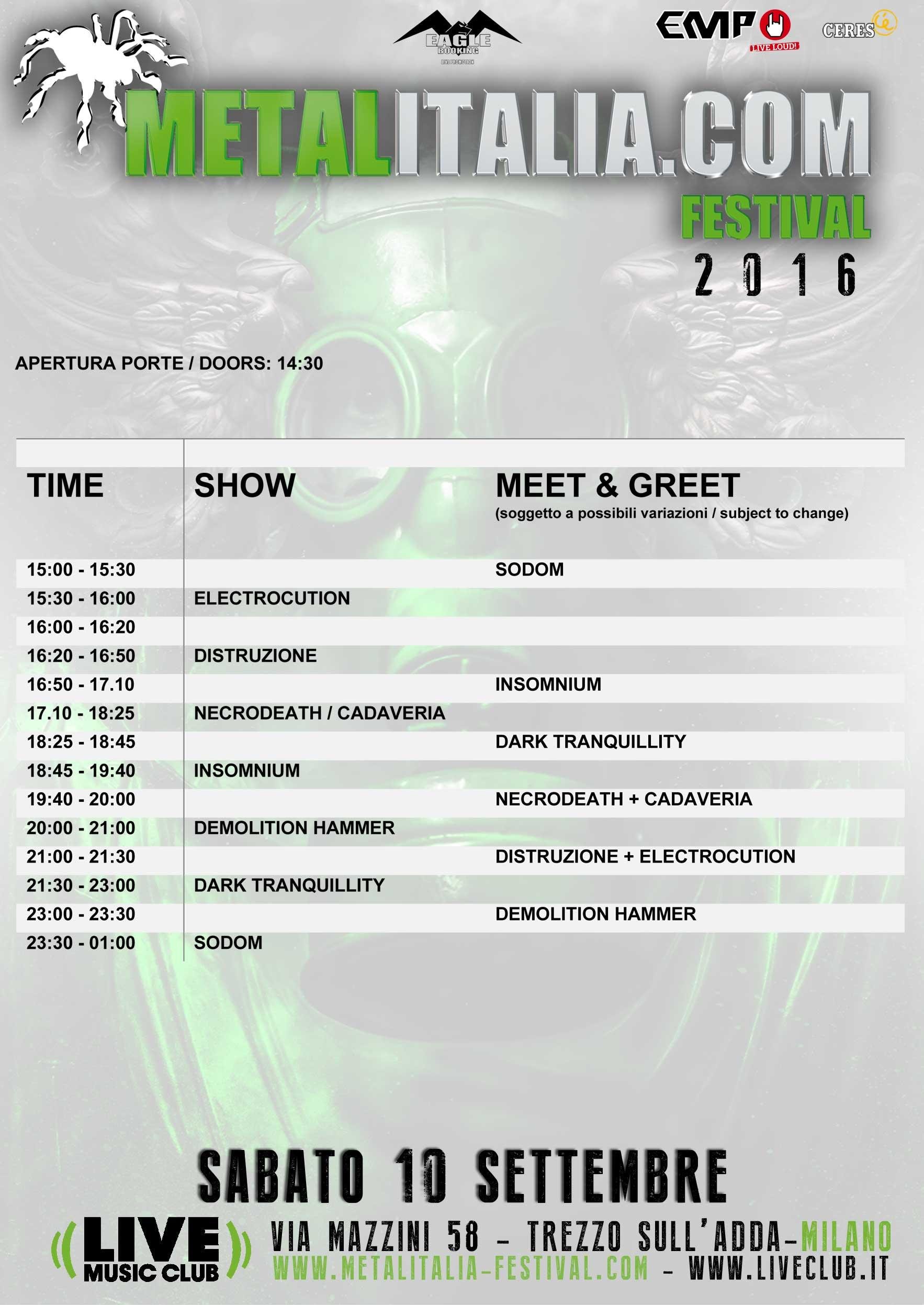 metalitalia festival 2016 - orari